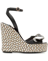 Sophia Webster - Black, White And Beige Soleil Lucita 140 Leather Sandals - Lyst