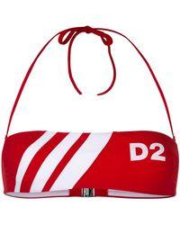 DSquared² - D2 Striped Bandeau Bikini Top - Lyst