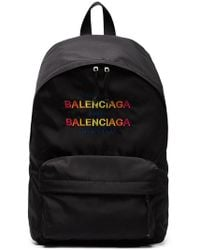 Balenciaga - Black Logo Explorer Backpack - Lyst