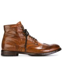 Officine Creative - Distressed Brogue Boots - Lyst