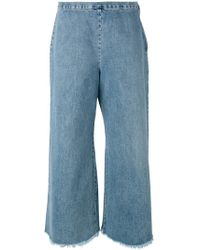 Simon Miller - Frayed Wide Leg Cropped Jeans - Lyst