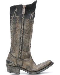 Golden Goose Deluxe Brand - Distressed Zipped Western Boots - Lyst