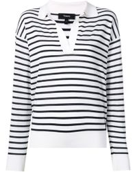 Theory - Striped V-neck Jumper - Lyst