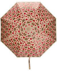 Moschino Paraguas con motivo de osos y corazones - Marrón