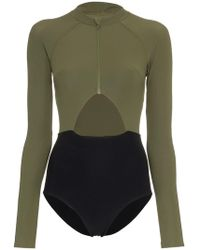 Flagpole Swim - Kelly High-neck Zip Front Long-sleeved Swimsuit - Lyst