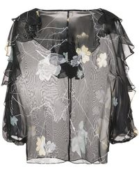 Thomas Wylde - Foxglove Sheer Floral Blouse - Lyst