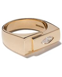 Lizzie Mandler - 18kt Yellow Gold Marquise Diamond Overlap Pinky Ring - Lyst
