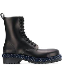 Balenciaga - Woven Detail Lace-up Boots - Lyst
