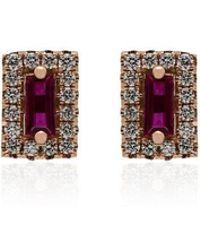 Suzanne Kalan - 18kt Rose Gold Ruby Diamond Earrings - Lyst