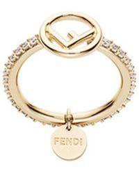 Fendi - Embellished Logo Ring - Lyst