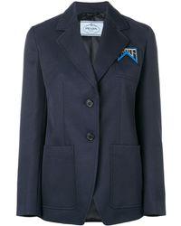 Prada ロゴ テーラード ジャケット - ブルー