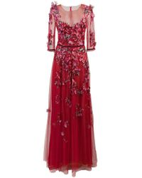 Marchesa notte - Embroidered Floral Tulle Gown - Lyst