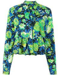 MSGM - Floral Peplum Shirt - Lyst