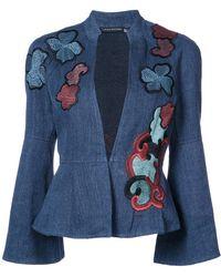 Josie Natori - Embroidered Peplum Jacket - Lyst