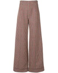 Courreges - Houndstooth Palazzo Trousers - Lyst