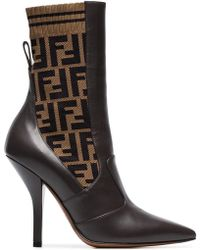 Fendi - Rockoko 105 Leather And Fabric Ankle Boots - Lyst