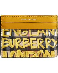 Burberry - Graffiti Print Vintage Check Leather Card Case - Lyst