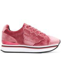 Emporio Armani - Textured Sneakers - Lyst