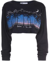 bea611eb3 RE/DONE - Cropped Graphic Print Sweatshirt - Lyst