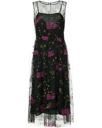 MUVEIL - Zodiac-embroidered Mesh Midi Dress - Lyst