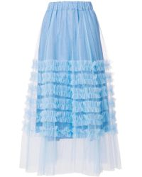 P.A.R.O.S.H. - Ruffle Trim Tulle Skirt - Lyst