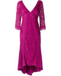 Martha Medeiros - V-neck Lace Midi Dress - Lyst