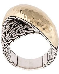 John Hardy - 18kt Yellow Gold And Sterling Silver Classic Chain Hammered Overlap Ring - Lyst