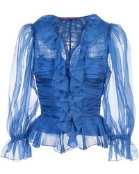 Ralph Lauren Collection - Ruffled Ruched Blouse - Lyst