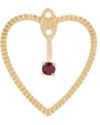 Yvonne Léon - 18kt Gold And Ruby Heart Earrings - Lyst