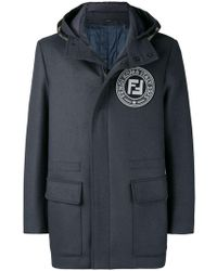 Fendi - Logo Hooded Coat - Lyst