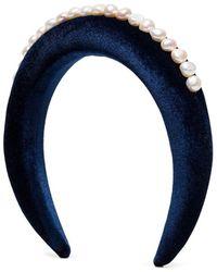 WALD BERLIN Pearl-embellished Headband - Blue