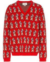 Gucci - Jersey con estampado de cerdo y cuello en V - Lyst