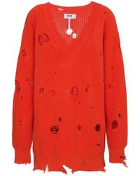 MSGM - Oversized Distressed Pullover - Lyst