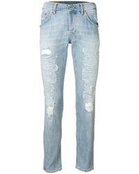Dondup - Washed Distressed Jeans - Lyst