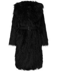 Goen.J - Faux Fur Belted Coat - Lyst