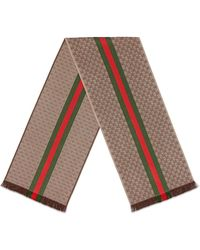 Gucci GG Jacquard Knit Scarf With Web And Fringe - Brown