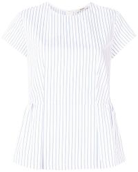 ODEEH - Pinstripe Cap Sleeve Peplum Top - Lyst