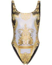 Versace - Scoop Back Printed Swimsuit - Lyst