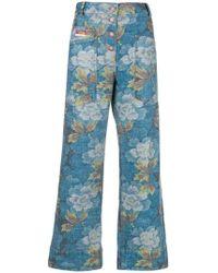 KENZO - Wide Leg Indonesian Flower Jeans - Lyst