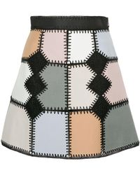 Loveless - Faux Suede Patchwork Mini Skirt - Lyst
