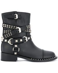 Philipp Plein - Buckle Strap Studded Boots - Lyst