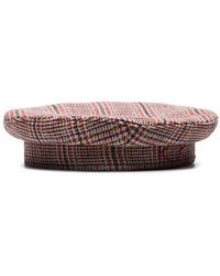 Ruslan Baginskiy Red Logo-embroidered Checked-wool Beret