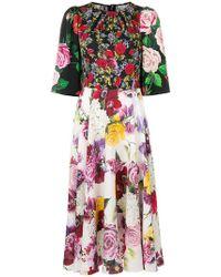 Dolce & Gabbana - Floral Multi-print Midi Dress - Lyst