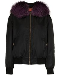 Mr & Mrs Italy - Black And Purple Fox Fur Trimmed Bomber Jacket - Lyst