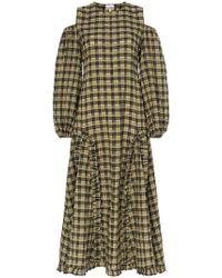 ca24b195 Ganni Charron Checked Cotton-blend Seersucker Dress, Fr42 in Blue - Lyst