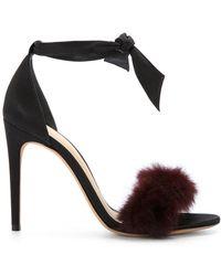 Alexandre Birman   Clarita Fur-trimmed Satin Sandals   Lyst