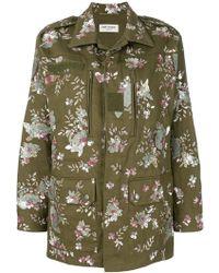 Saint Laurent - Floral Embroidered Parka Coat - Lyst