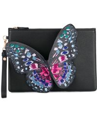 Sophia Webster - Black Flossy Embroidered Butterfly Pouchette - Lyst