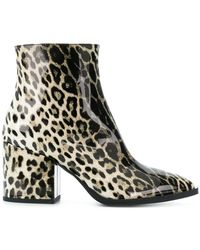 McQ - Leopard Print Pointed Ankle Boots - Lyst