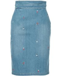 Guild Prime - Floral Embroidered Denim Skirt - Lyst